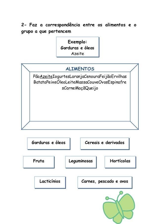 2- Faz a correspondência entre os alimentos e o grupo a que pertencem ALIMENTOS Exemplo: Gorduras e óleos Azeite PãoAzeite...