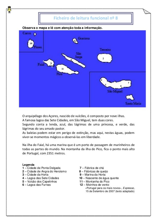 Observa o mapa e lê com atenção toda a informação. O arquipélago dos Açores, nascido de vulcões, é composto por nove ilhas...