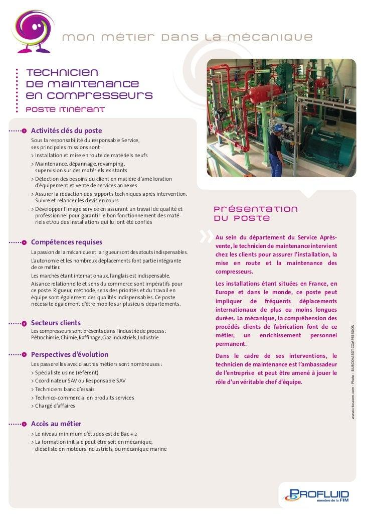 4-Fiche Metier Technicien de maintenance en compresseurs_PROFLUID 09/07/12 10:03 Page1                         m o n m ét ...