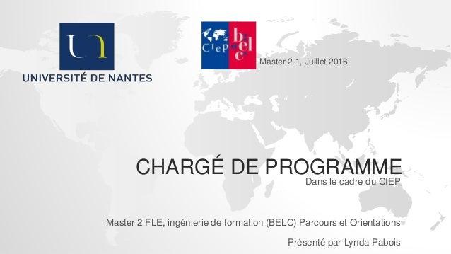 Fiche Metier Charge De Programme Formateur Pwpt