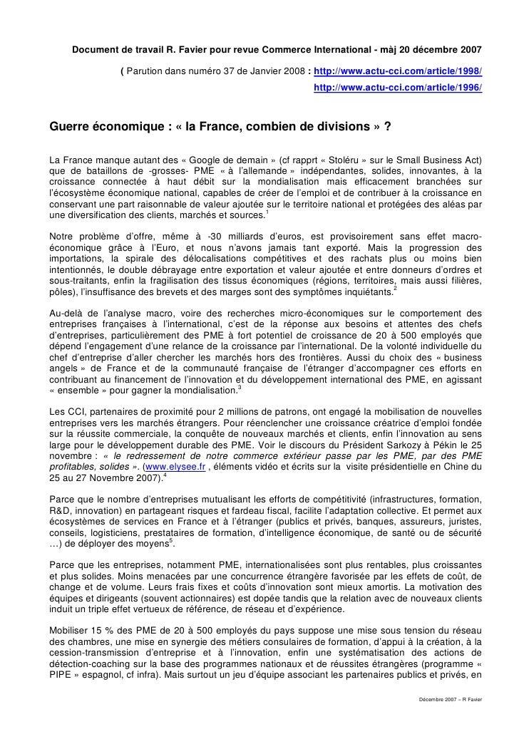France en Guerre Economique & Projet 10 000 - Fiche décembre 2007