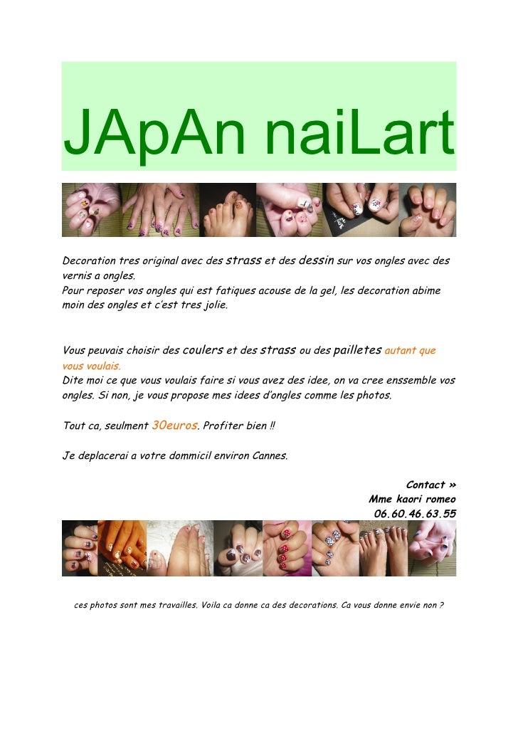 JApAn naiLart Decoration tres original avec des strass et des dessin sur vos ongles avec des vernis a ongles. Pour reposer...