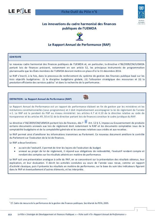 1 Le Pôle « Stratégie de Développement et Finances Publiques » – Fiche outil n°6 « Rapport Annuel de Performance »KKA - Le...