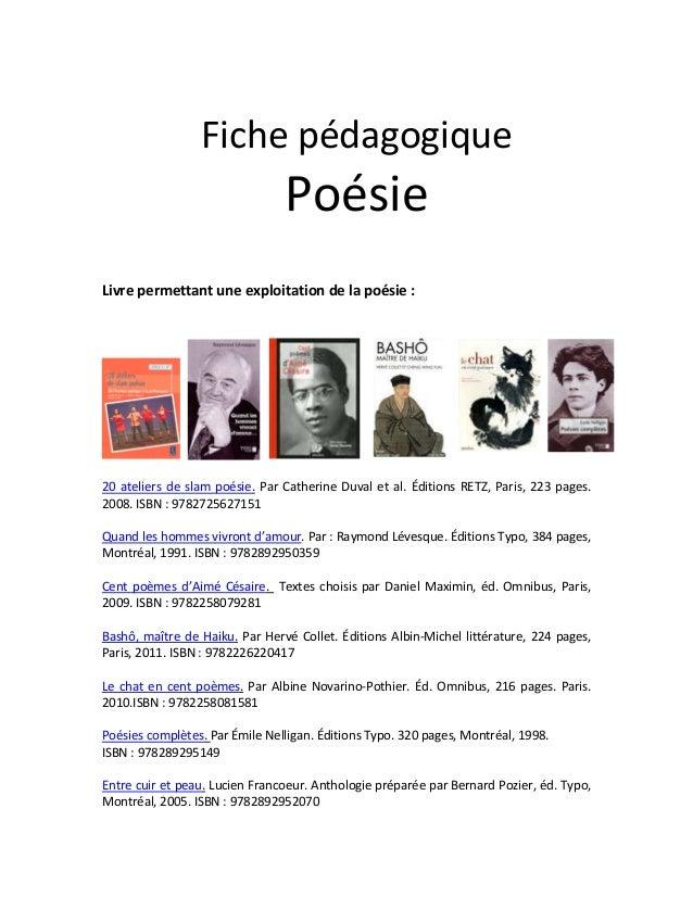 Fiche pédagogique Poésie Livre permettant une exploitation de la poésie : 20 ateliers de slam poésie. Par Catherine Duval ...
