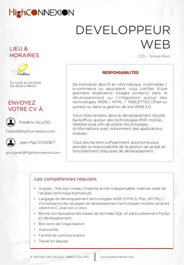 EMPLOI - DEVELOPPEUR WEB