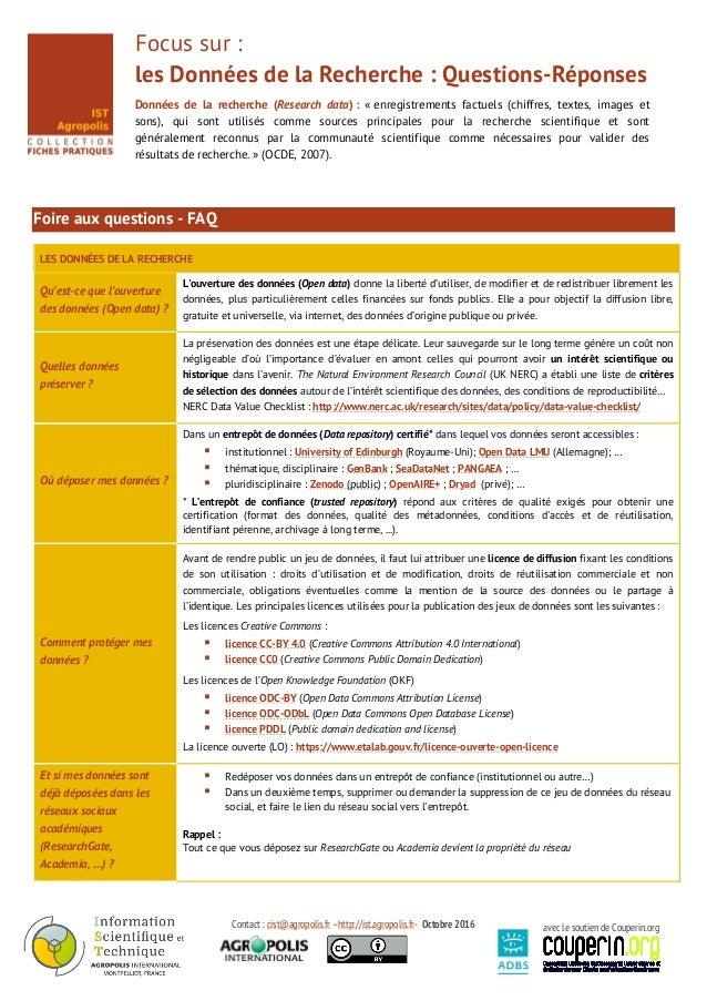 Contact : cist@agropolis.fr –http://ist.agropolis.fr- Octobre 2016 avec le soutien de Couperin.org Focus sur : les Données...