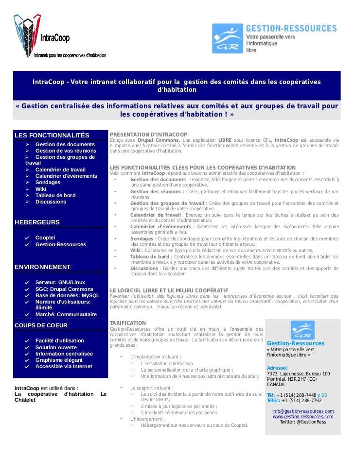 IntraCoop - Votre intranet collaboratif pour la gestion des comités dans les coopératives                                 ...