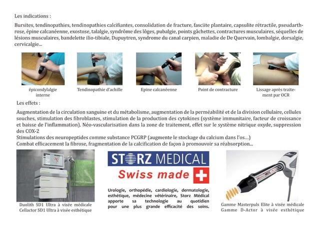Les indications :Bursites, tendinopathies, tendinopathies calci iantes, consolidation de fracture, fasciite plantaire, cap...