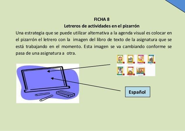 FICHA 8 Letreros de actividades en el pizarrón Una estrategia que se puede utilizar alternativa a la agenda visual es colo...
