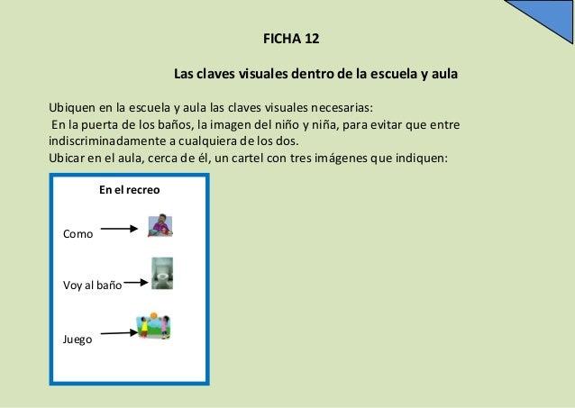 FICHA 12 Las claves visuales dentro de la escuela y aula Ubiquen en la escuela y aula las claves visuales necesarias: En l...