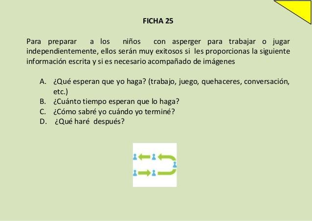 FICHA 25 Para preparar a los niños con asperger para trabajar o jugar independientemente, ellos serán muy exitosos si les ...