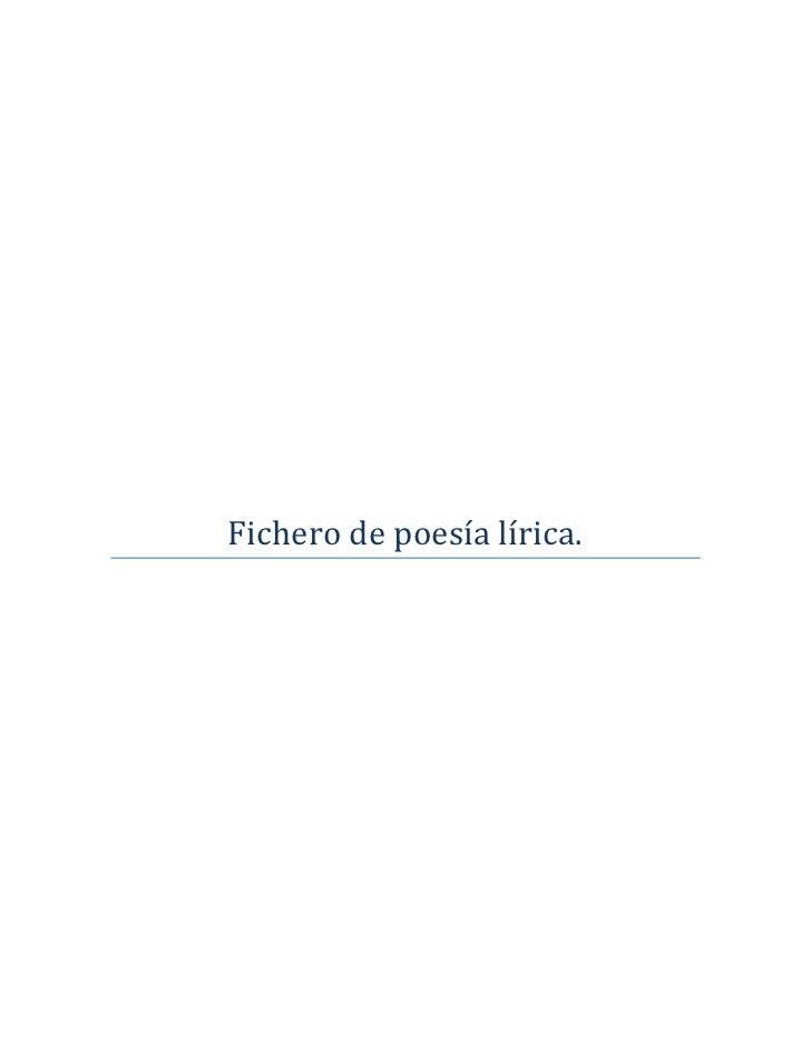 Fichero de poesía lírica.