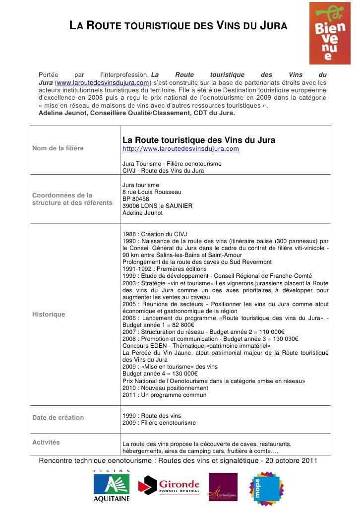 LA ROUTE TOURISTIQUE DES VINS DU JURA  Portée       par      l'interprofession, La       Route        touristique       de...