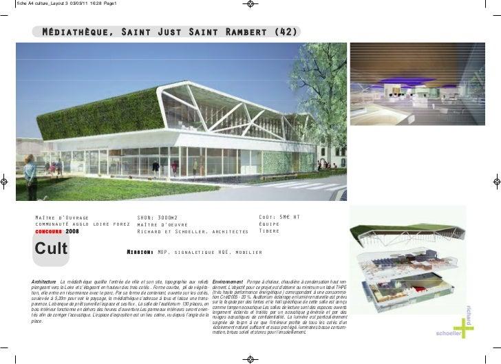 fiche A4 culture_Layout 3 03/03/11 16:28 Page1           Médiathèque, Saint Just Saint Rambert (42)        Maître d'Ouvrag...