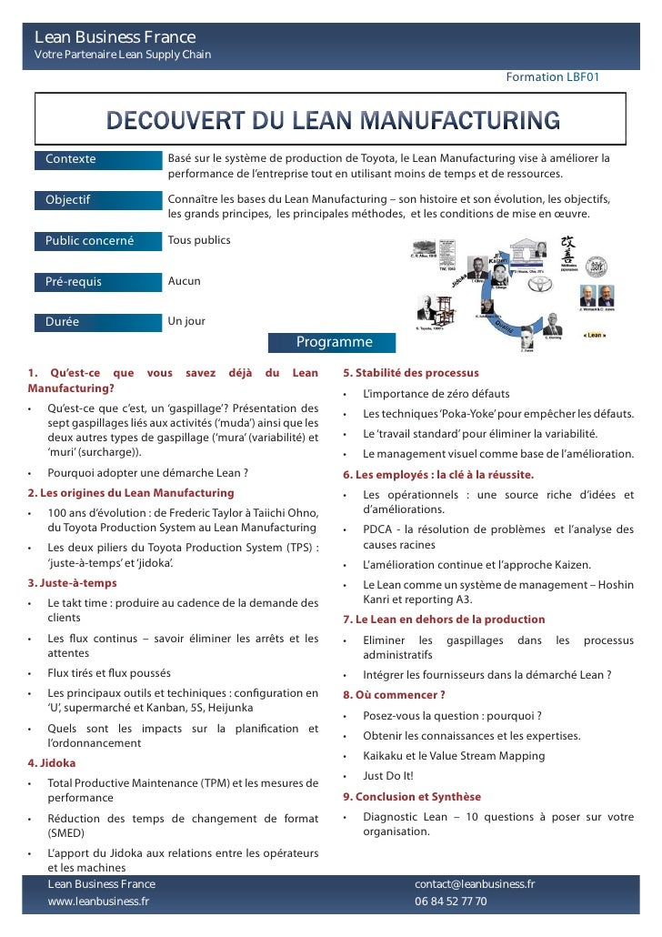 Lean Business France - Training Module descriptions