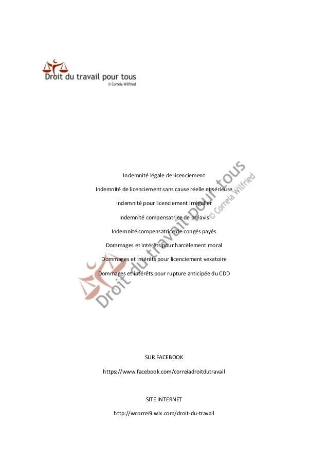Indemnité légale de licenciement  Indemnité de licenciement sans cause réelle et sérieuse  Indemnité pour licenciement irr...