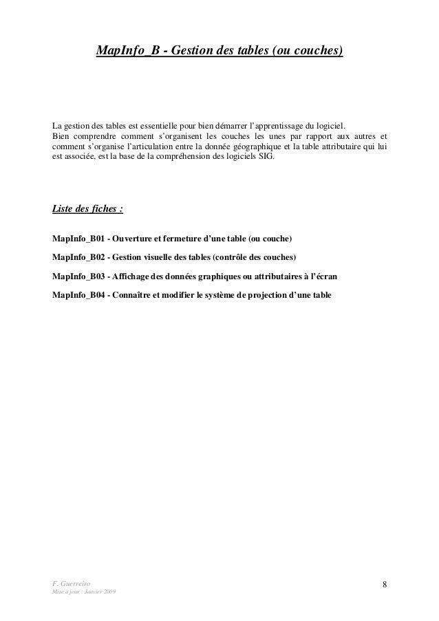 F. Guerreiro Mise à jour : Janvier 2009 8 MapInfo_B - Gestion des tables (ou couches) La gestion des tables est essentiell...