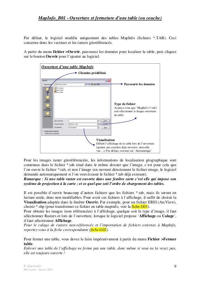 F. Guerreiro Mise à jour : Janvier 2009 9 MapInfo_B01 - Ouverture et fermeture d'une table (ou couche) Par défaut, le logi...