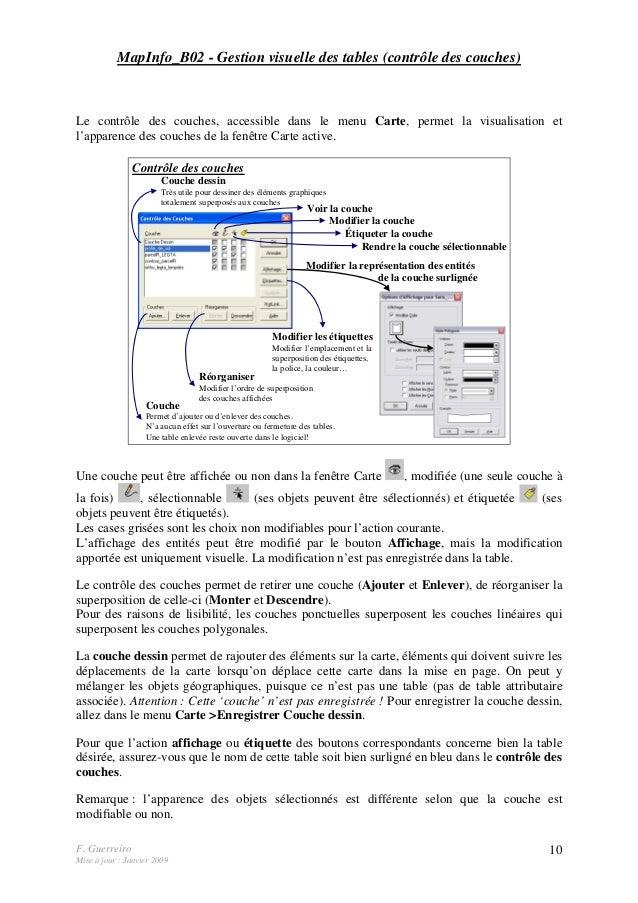 F. Guerreiro Mise à jour : Janvier 2009 10 MapInfo_B02 - Gestion visuelle des tables (contrôle des couches) Le contrôle de...