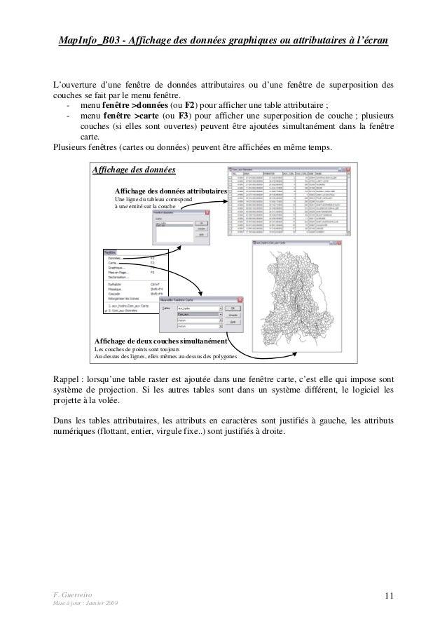 F. Guerreiro Mise à jour : Janvier 2009 11 MapInfo_B03 - Affichage des données graphiques ou attributaires à l'écran L'ouv...