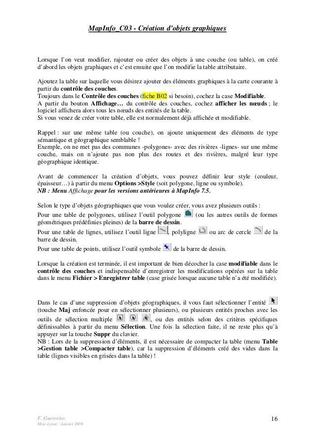 F. Guerreiro Mise à jour : Janvier 2009 16 MapInfo_C03 - Création d'objets graphiques Lorsque l'on veut modifier, rajouter...