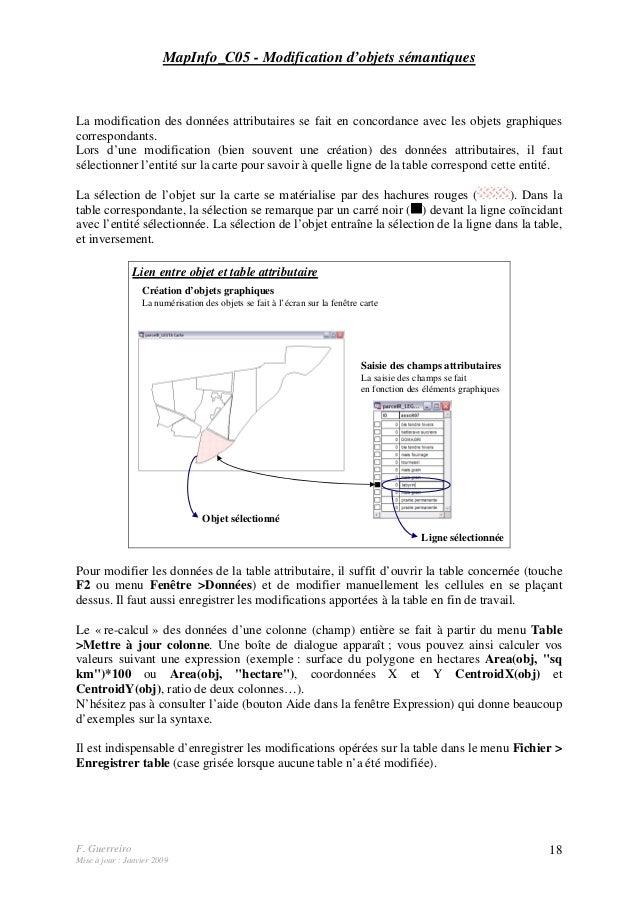 F. Guerreiro Mise à jour : Janvier 2009 18 MapInfo_C05 - Modification d'objets sémantiques La modification des données att...
