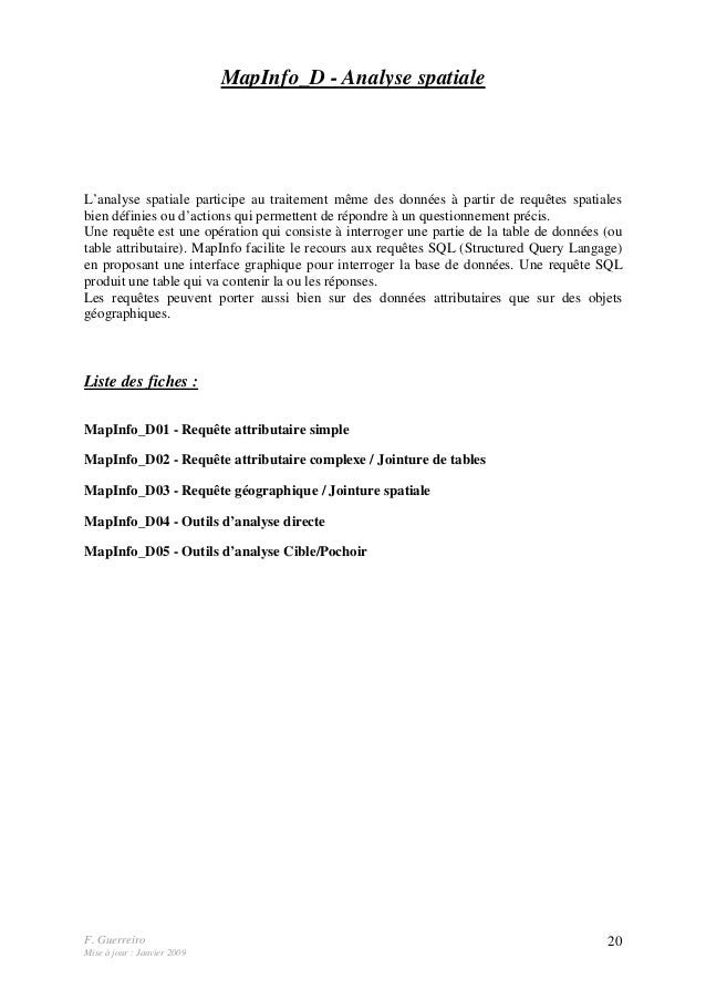 F. Guerreiro Mise à jour : Janvier 2009 20 MapInfo_D - Analyse spatiale L'analyse spatiale participe au traitement même de...