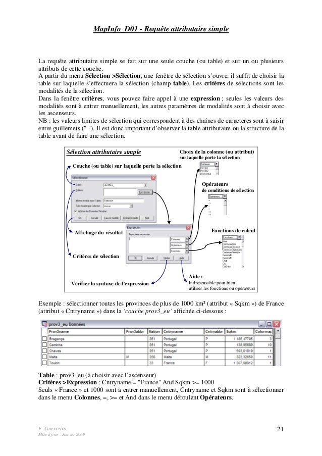 F. Guerreiro Mise à jour : Janvier 2009 21 MapInfo_D01 - Requête attributaire simple La requête attributaire simple se fai...