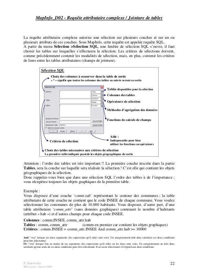 F. Guerreiro Mise à jour : Janvier 2009 22 MapInfo_D02 - Requête attributaire complexe / Jointure de tables La requête att...