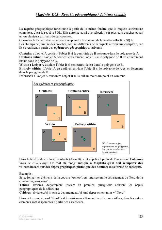 F. Guerreiro Mise à jour : Janvier 2009 23 MapInfo_D03 - Requête géographique / Jointure spatiale La requête géographique ...