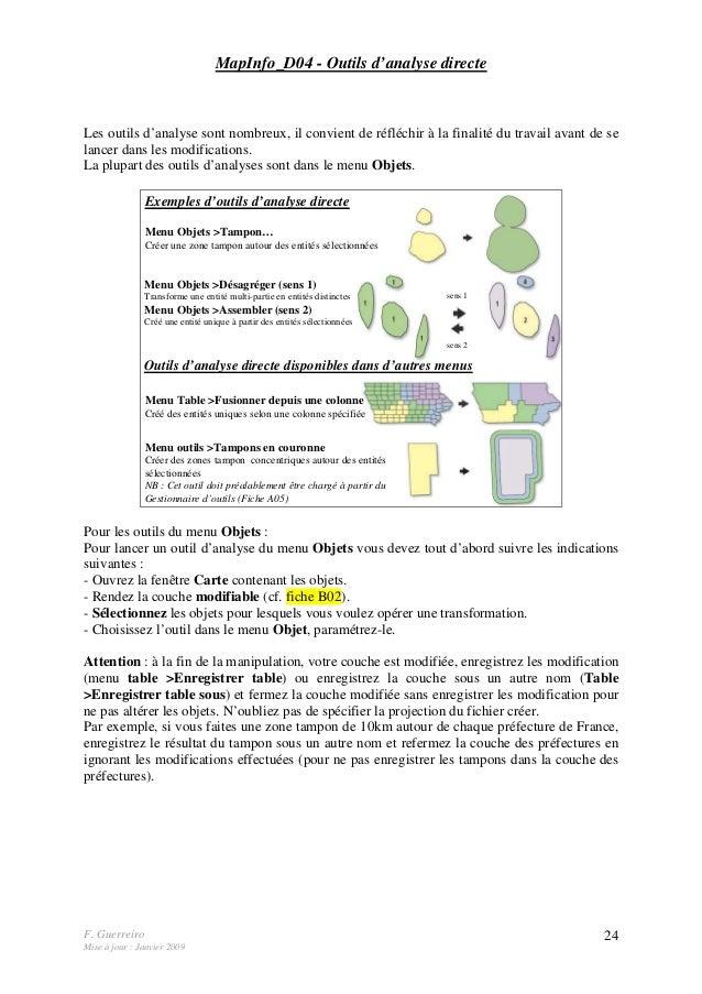 F. Guerreiro Mise à jour : Janvier 2009 24 MapInfo_D04 - Outils d'analyse directe Les outils d'analyse sont nombreux, il c...