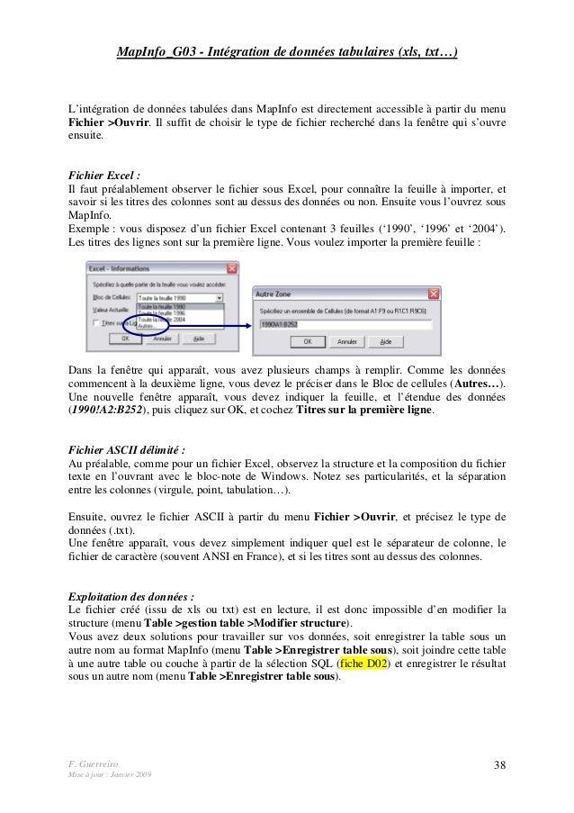 F. Guerreiro Mise à jour : Janvier 2009 38 MapInfo_G03 - Intégration de données tabulaires (xls, txt…) L'intégration de do...