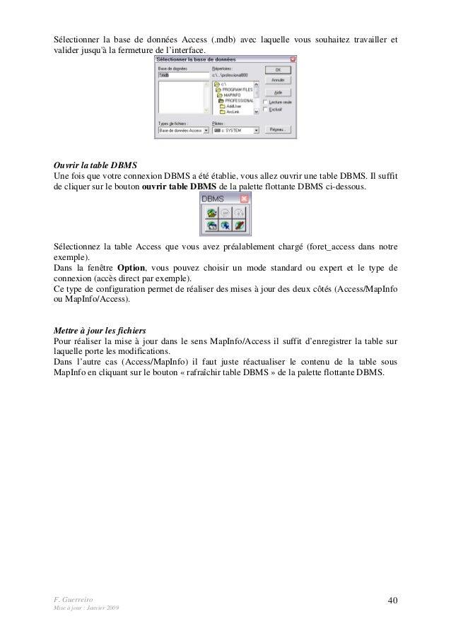 F. Guerreiro Mise à jour : Janvier 2009 40 Sélectionner la base de données Access (.mdb) avec laquelle vous souhaitez trav...