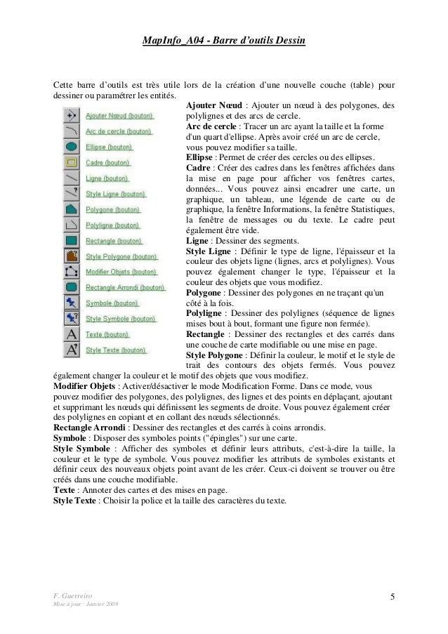 F. Guerreiro Mise à jour : Janvier 2009 5 MapInfo_A04 - Barre d'outils Dessin Cette barre d'outils est très utile lors de ...