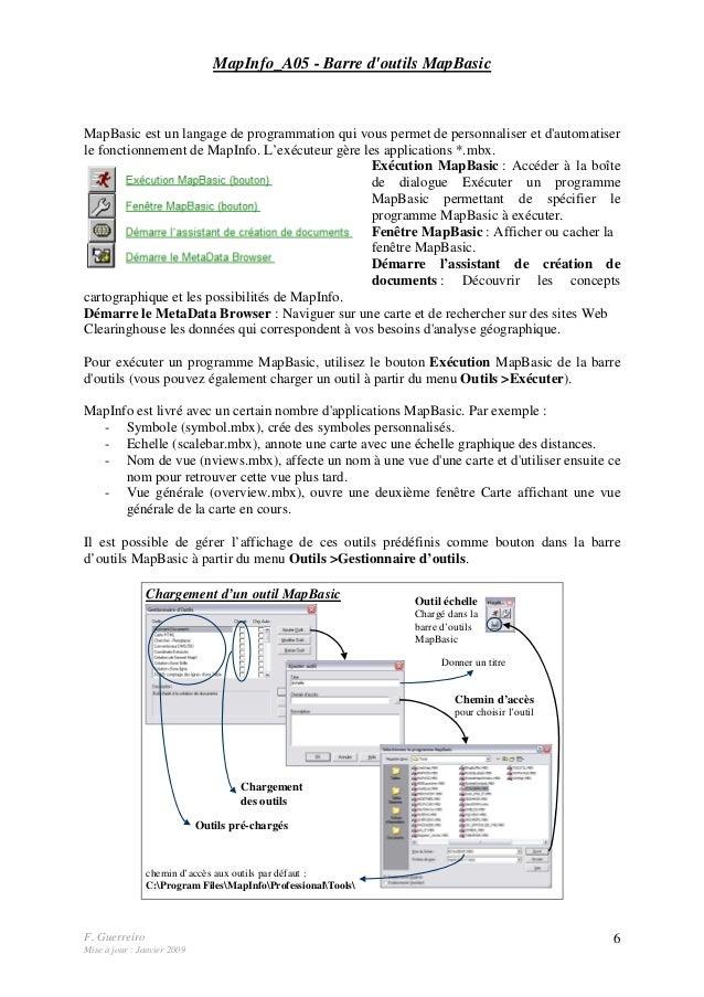 F. Guerreiro Mise à jour : Janvier 2009 6 MapInfo_A05 - Barre d'outils MapBasic MapBasic est un langage de programmation q...
