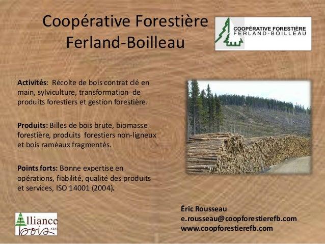 Coopérative Forestière Ferland-Boilleau Activités: Récolte de bois contrat clé en main, sylviculture, transformation de pr...