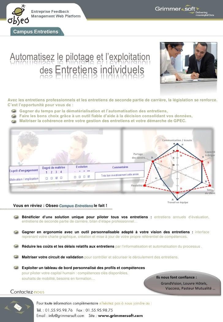 Campus Entretiens      Automatisez le pilotage et l'exploitation         des Entretiens individuels  Avec les entretiens p...