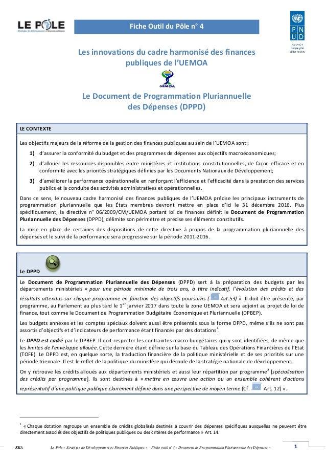 1Le Pôle « Stratégie de Développement et Finances Publiques » – Fiche outil n°4 « Document de Programmation Pluriannuelle ...