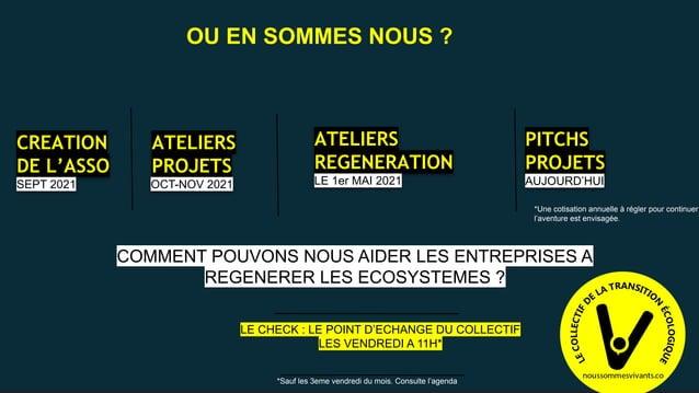 CREATION DE L'ASSO SEPT 2021 ATELIERS PROJETS OCT-NOV 2021 ATELIERS REGENERATION LE 1er MAI 2021 *Une cotisation annuelle ...