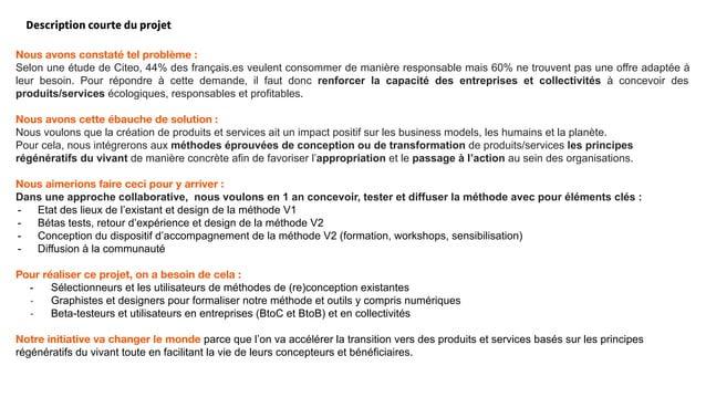 Description courte du projet Nous avons constaté tel problème : Selon une étude de Citeo, 44% des français.es veulent cons...