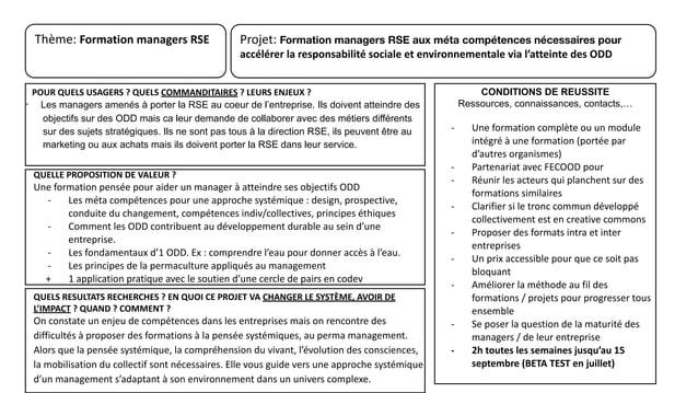 Projet: Formation managers RSE aux méta compétences nécessaires pour accélérer la responsabilité sociale et environnementa...
