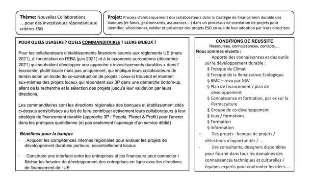 Projet: Process d'embarquement des collaborateurs dans la stratégie de financement durable des banques (et fonds, gestionn...