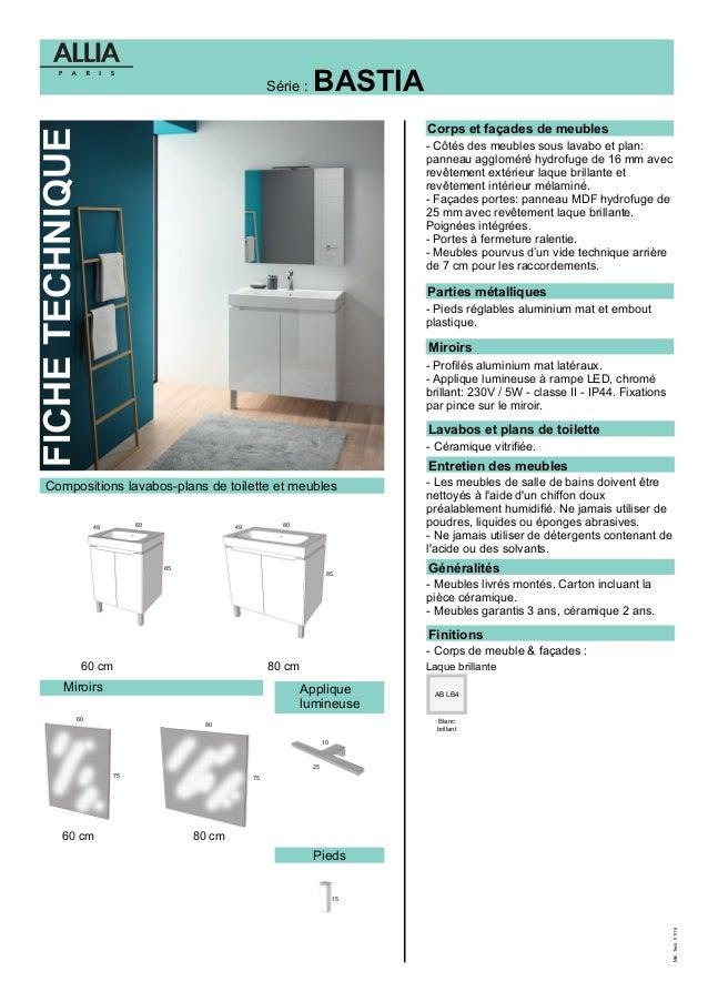 fiche technique meuble salle de bains bastia par allia - Entretien Salle De Bain