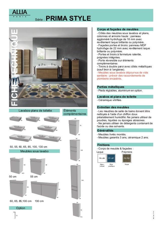 fiches technique meuble de salle bains prima style. Black Bedroom Furniture Sets. Home Design Ideas