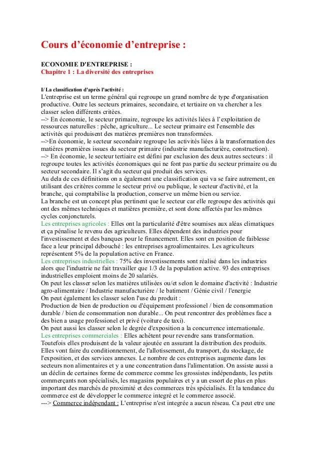 Cours d'économie d'entreprise : ECONOMIE D'ENTREPRISE : Chapitre 1 : La diversité des entreprises I/ La classification d'a...
