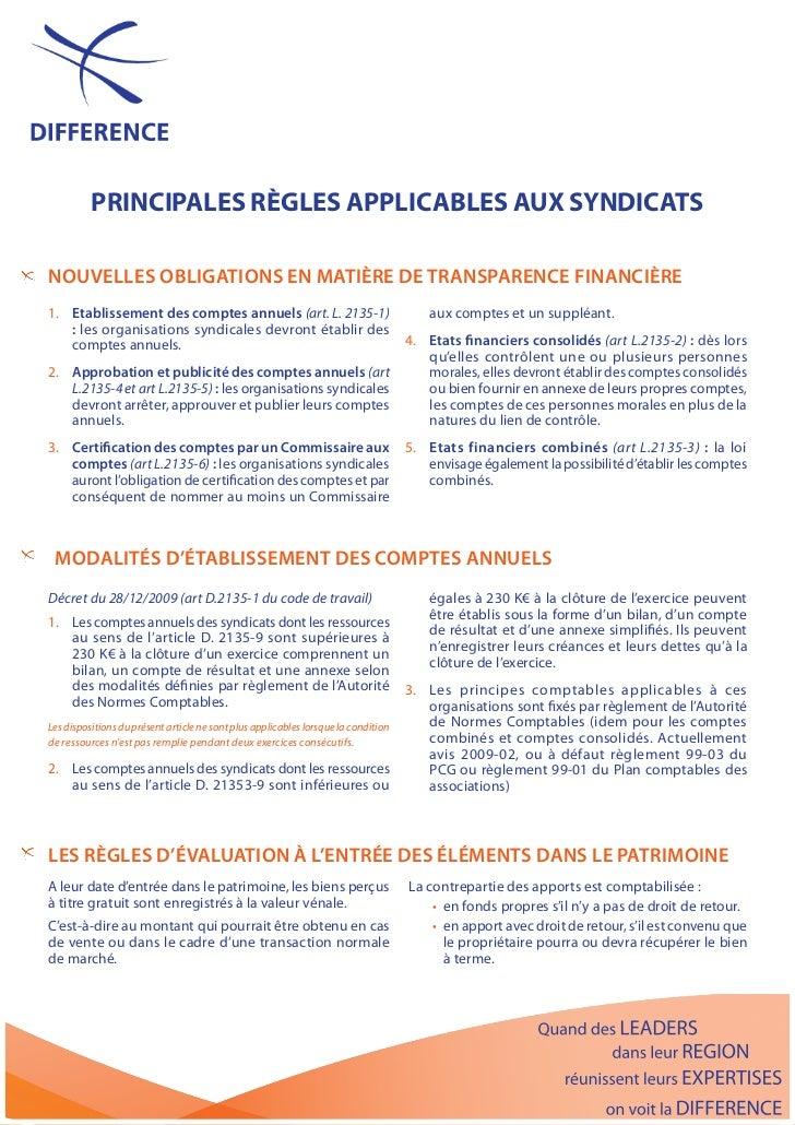 PrinciPales règles aPPlicables aux syndicatsnouvEllEs obligAtions En MAtièrE dE trAnspArEnCE finAnCièrE1. Etablissement de...