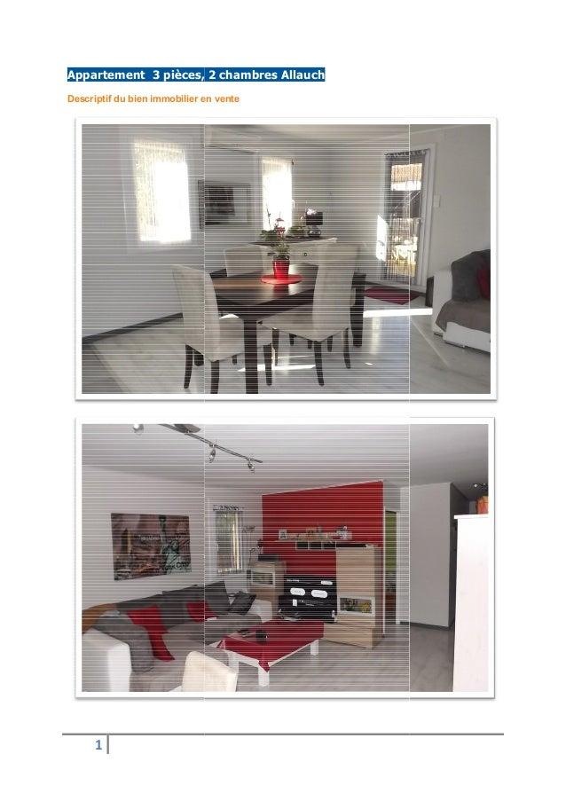 1 Appartement 3 pièces, 2 Descriptif du bien immobilier en vente Appartement 3 pièces, 2 chambres Allauch Descriptif du bi...