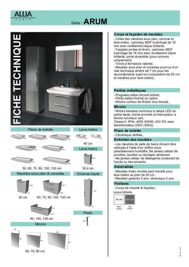 fiche technique meubles arum par allia salle de bains. Black Bedroom Furniture Sets. Home Design Ideas