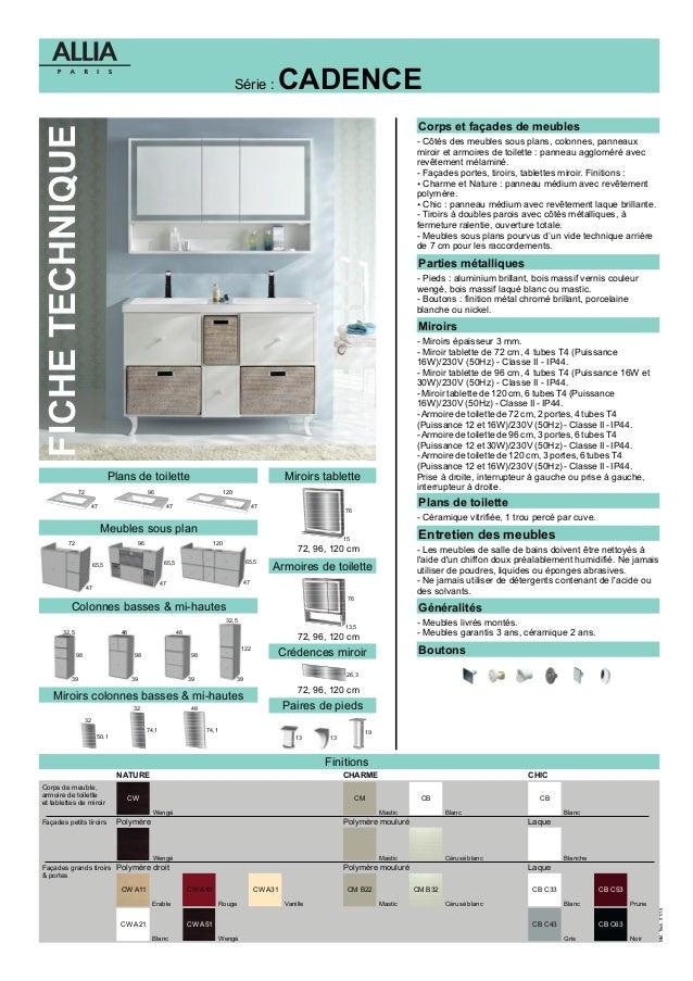 fiche technique meubles cadence par allia salle de bains. Black Bedroom Furniture Sets. Home Design Ideas