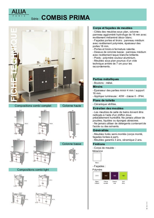 fiche technique meubles combi prima par allia salle de bains. Black Bedroom Furniture Sets. Home Design Ideas